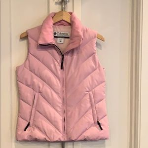 Columbia pink puffer vest size small